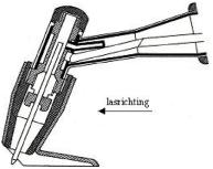 Afbeelding 1: lastoorts met sleepschoen die de afkoelende las beschermd m.b.v. argon.